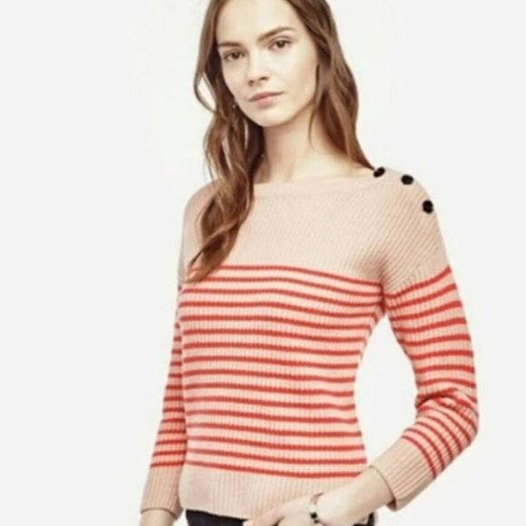 Ann Taylor Wool/Cashmere Ribbed Button Sweater L